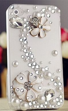 6c 6s plus White floral pearl rhinestone Hard Back Mobile phone Case Cover sparkly