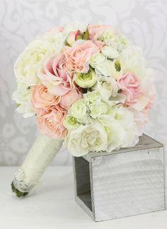 Silk Bride Bouquet Peony Flowers Pink Cream Spring By Braggingbags