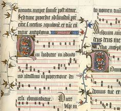 Musical notation from The Pontifical of Guilelmus Durandus. Yates Thompson collection. Gothic script.