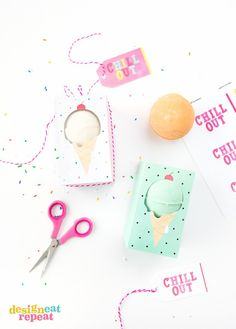 """Gift those homemade bath bombs in these adorable ice cream themed """"Chill Out"""" gift boxes!"""