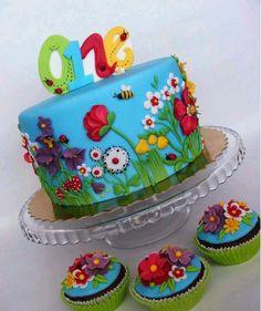 One year old garden theme cake