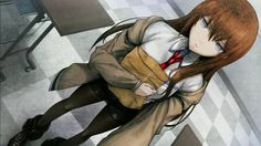 Anime picture 				1280x720 with  		steins;gate 		makise kurisu 		long hair 		single 		blue eyes 		looking at viewer 		wide image 		brown hair 		checkered floor 		girl 		shirt 		necktie 		shorts 		jacket