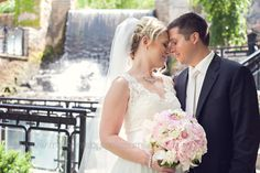 Hamilton ON Wedding  The Ancaster Old Mill  bride and groom  bouquet  waterfall