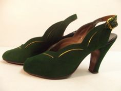 1940s Green Suede Shoes