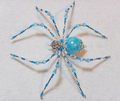 Skylar  aqua blue and silver glass beaded spider by llanywynns, $18.00