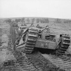 """Churchill tanks of 'B' Squadron, 9th Royal Tank Regiment during an exercise at Tilshead on Salisbury Plain, 31 January 1942. The lead vehicle is named 'Jester'."""