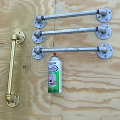 Awesome drawer pulls made of galvanized pipe parts