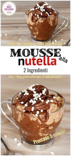 fast nutella mousse with only 2 ingredients Torte Nutella, Nutella Mousse, Sweet Recipes, Cake Recipes, Dessert Recipes, Nutella Muffin, Chocolate Lasagna, Soft Chocolate Chip Cookies, Good Food