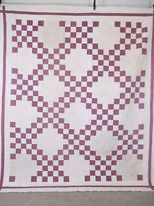 Vintage-Antique-Handmade-Quilt-Patchwork-Double-Irish-Chain-Quilt-Old-Textiles