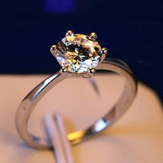 Round Simulated Diamond Solitaire Ring