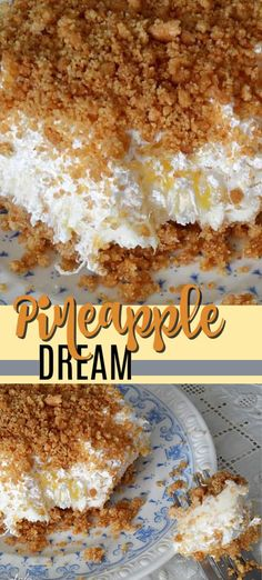 Pineapple dream is one of those perfect potluck desserts. Cream cheese, pineappl… Pineapple dream is one of those perfect potluck desserts. Cream cheese, pineapple, whipped cream and graham crackers, yum! Cream Cheese Desserts, Mini Desserts, Summer Desserts, Easy Desserts, Delicious Desserts, Dessert Recipes, Yummy Food, Desserts For Potluck, Fruit Deserts Recipes