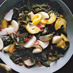 Braised Turnip Greens with Turnips and Apples / photo by William Abranowicz Turnip Recipes, Apple Recipes, Turnip Greens, Collard Greens, Vegetable Sides, Vegetable Salad, Food Menu, A Food, Southern Dinner