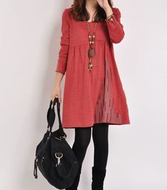 Red cotton dress long sleeve dress embroidered dress casual cotton shirt maternity dress large cotton tops cotton blouse plus size dress
