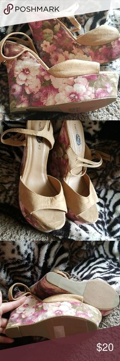 *NEW* Rue 21 floral wedges. These wedges have never been worn. Bought them on impulse because last size. Just can't make them work. Beautiful floral cloth like material on sides. Shoes Wedges