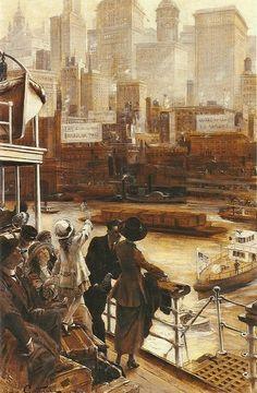 """KitschMyAssJean André Castaigne (French, 1861-1930), """"L'arrivée à New York"""""""