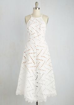 Be-All East End-All Dress in White - White, Tan / Cream, Solid, Casual, A-line, Sleeveless, Spring, Woven, Best, Long, Bridesmaid, Bride