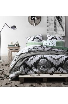 Free shipping and returns on kensie 'Jenna' Oversize Comforter Set at Nordstrom.com. Give your bedroom a total makeover with this graphic watercolor-print comforter that reverses to an aqua hue for a second stylish look. Coordinated shams and a geometric-print accent pillow complete this boho-chic bedding collection.