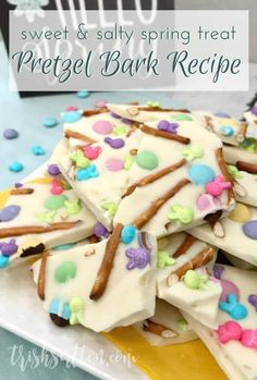 Festive colors, sprinkles, salty pretzels, vanilla, white chocolate and milk chocolate candies make up this simple spring treat. You'll love this Easter Pretzel Bark Recipe. #kenarry #ideasforthehome