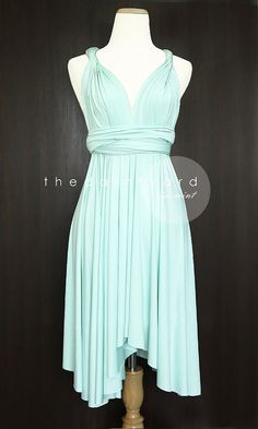TDY Mint Short Asymmetrical Convertible Dress Infinity Dress Multiway Dress  Wrap Dress Bridesmaid Dress Twist Wrap Dress Cocktail Prom Dress 36eeeedb43bc