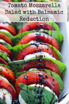 Light and easy appetizer or side dish, loaded with tomatoes, fresh mozzarella, and basil with a sweet balsamic reduction   http://www.littlebroken.com @littlebroken