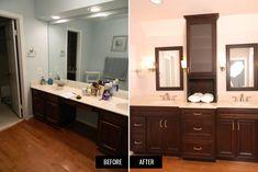 Modernizing the look of this vanity area fit the needs of this home's owners. #bathroom #bathroomdesign #bathroomremodel