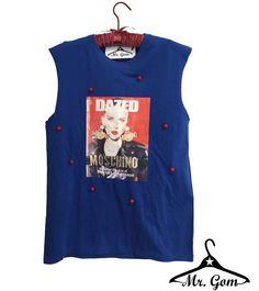Camiseta azul sin mangas. Diseño Mr.Gom