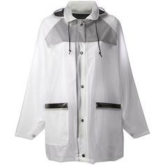 DKNY hooded raincoat ($565) ❤ liked on Polyvore featuring outerwear, coats, jackets, coats & jackets, bomber, white hooded coat, dkny raincoat, hooded coats, rain coat e dkny coats