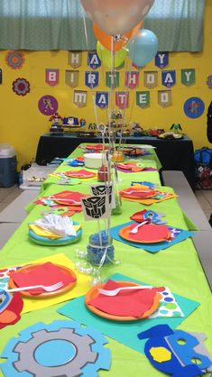 Transformer Rescue Bots Birthday party  Banner is from Etsy Rescue bot masks were homemade at Mateo's request Handed out rescue bots stickers purchased from eBay and rescue bot coloring books from party city ($1.00/each!)