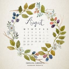 2016 august downloadable floral wreath calendar