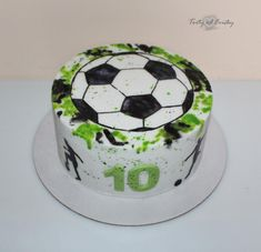 Painted football - cake by Cakes by Evička - CakesDecor