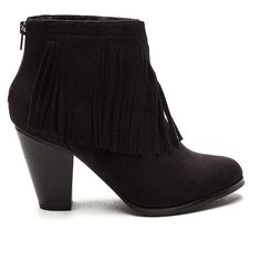 Western Front Faux Suede Fringe Booties BLACK ($33) ❤ liked on Polyvore featuring shoes, boots, ankle booties, ankle boots, black, cowgirl boots, black ankle booties, black booties and black high heel boots