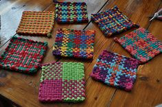 I was lucky to get a vintage potholder loom for Christmas...one of my favorite toys as a kid. The graphic quality of these potholders is awesome.