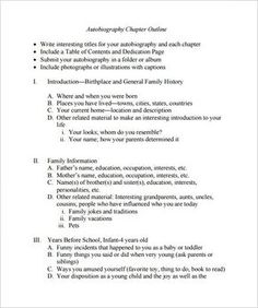 Autobiography Outline Template   Free Word Pdf Documents