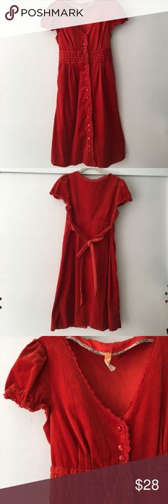 """Anthropologie Maeve soft corduroy shirt dress """"The finest wales in the brightest tomato-red garnish this appetizing Maeve shirt dress. Trimmed with crochet and tied at the back for a perfect fit. """" One button is coming loose, see pic, bit is not noticeable when buttoned.  Otherwise great condition. So soft and pretty any time of year. Anthropologie Dresses"""