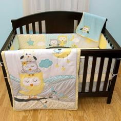 Naptime Owls 6 Piece Baby Crib Bedding Set with Bumper by Babys First.  Owl Baby Bedding Sets.  Owl Nursery Theme.