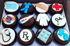 how to make medical themed cupcakes with fondant at DuckDuckGo Nurse Cupcakes, Nurse Cookies, Themed Cupcakes, Cupcake Cookies, Doctor Party, Doctor Cake, Fondant Toppers, Cupcake Toppers, Fondant Cupcakes