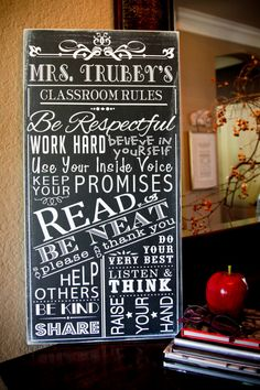 Classroom Rules Personalized Teacher Gift School Rules Typography Subway Art Wood Wooden Sign Painting on Etsy, $55.00 I WANT THIS! but with a little more blank space so not so busy for the little ones. LOVE IT!!