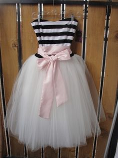 Striped Sweetheart Tulle Party Dress  Just Because I love by ouma, $310.00 LOVE this tulle striped party dress! Women's teen fashion clothes outfit for party prom