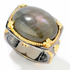 Mens en Vogue II 20 x 15mm Labradorite & Sapphire Ring