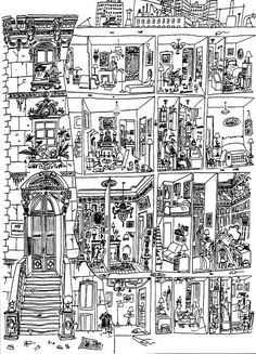 By Saul Steinberg (i so want to print this out and color it in with sharpies!!!!)