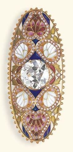 AN ART NOUVEAU DIAMOND AND PLIQUE-A-JOUR ENAMEL BROOCH. Centring upon an old European-cut diamond, within an oblong openwork and multi-coloured plique-à-jour enamel foliate surround, enhanced by rose-cut diamond borders, to the gold beadwork trim, mounted in gold, circa 1900. #ArtNouveau #antique #brooch: