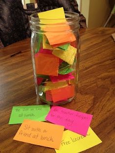The Privilege Jar - This is an excellent idea for rewarding extremely good behavior and reinforcing that character traits you want to develop. _ I can also imagine a Consequences Jar.  Level of consequences on color coded car. When they need discipline have the child pull a consequences card in the color code that is appropriate for the action