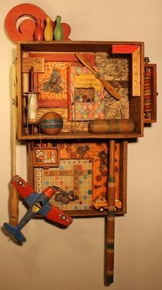 I remember when...--Timeless Series is a mixed media assemblage created by Whawi member artist Kathy Moore. This one really brings back memories for me. Someone has a game room that is waiting for this piece.