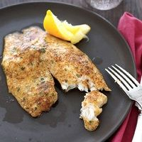 Tilapia - 1 cup grated parmasean, 2 tsp paprika, 1 tsp lemon pepper / garlic salt, 1 Tbs parsley, dash red pepper flakes  Coat fish with olive oil and cover in cheese mixture, bake at 400 for 10-12 minutes until fish is white in middle