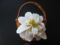 Wedding Flower Girl Basket Ivory Water Lily choose your colors #flowergirlbasket by ArtisanFeltStudio, $29.00
