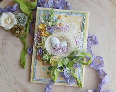 Shabby Chic Cards, Easter Projects, Beautiful Handmade Cards, Handmade Greetings, Egg Decorating, Card Maker, Embellishments, Floral Wreath, Paper Crafts