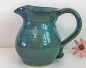 Stoneware Pitcher - Teal, Blue/green - Handmade on the Potters Wheel