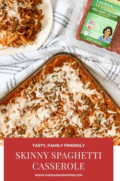 WW Friendly: Skinny Spaghetti Casserole. Who doesn't love spaghetti and lasagna? This Skinny Spaghetti Casserole is a mix between a classic lasagna and a baked spaghetti- a prefect combination! This recipe is a family favorite! via @pounddropper Skinny Recipes, Ww Recipes, Cooking Recipes, Healthy Recipes, Skinny Meals, Healthy Options, Potato Recipes, Vegetarian Recipes, Recipies