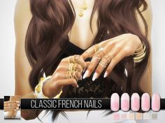 The Sims Resource: Classic French Nails N04 by Pralinesims • Sims 4 Downloads