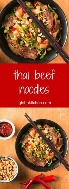 Thai beef noodles are spicy, salty, sweet and garlicky. A nice change from the usual pad thai.
